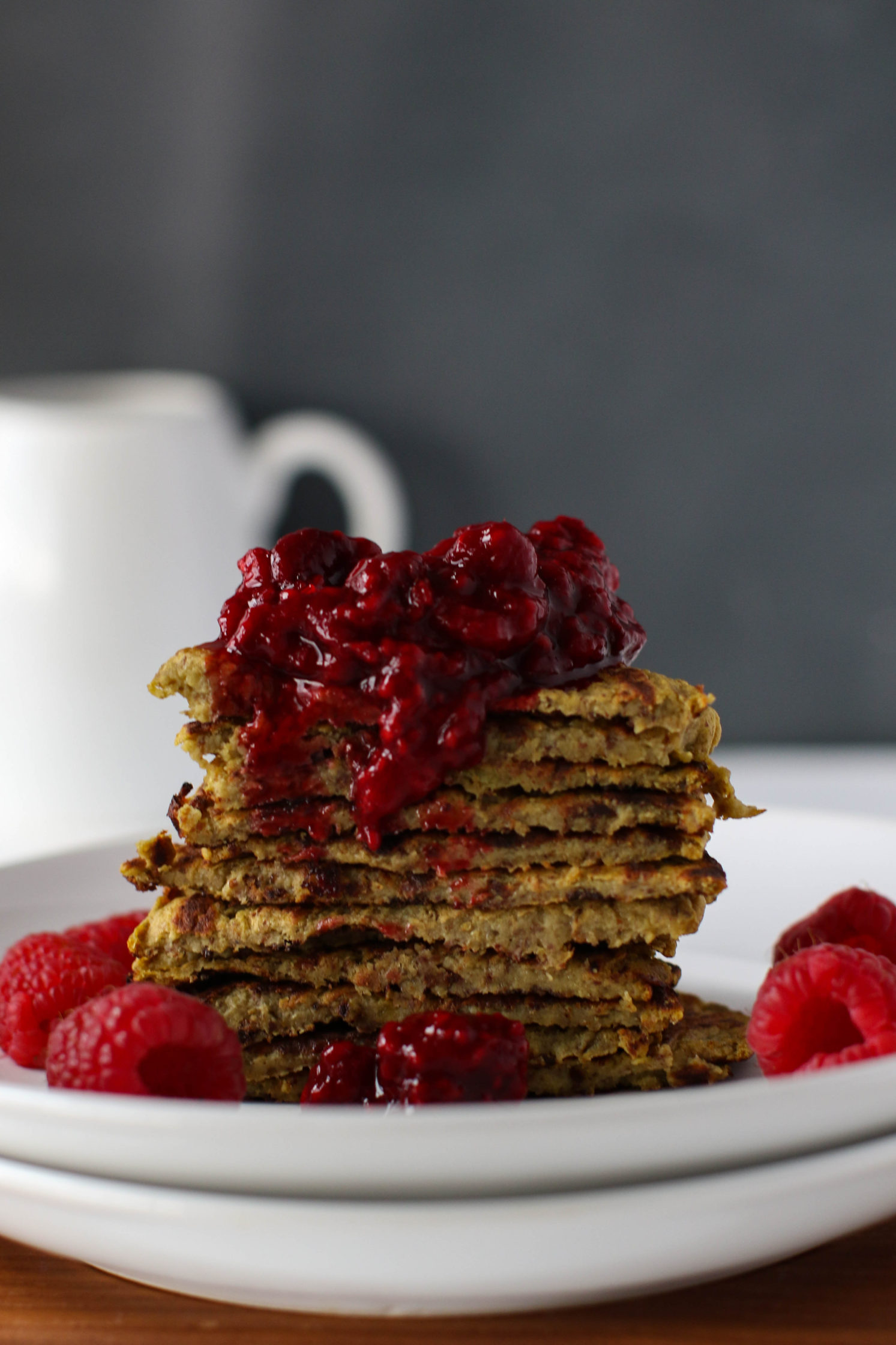 Golden Beet Protein Pancakes with Raspberry Compote