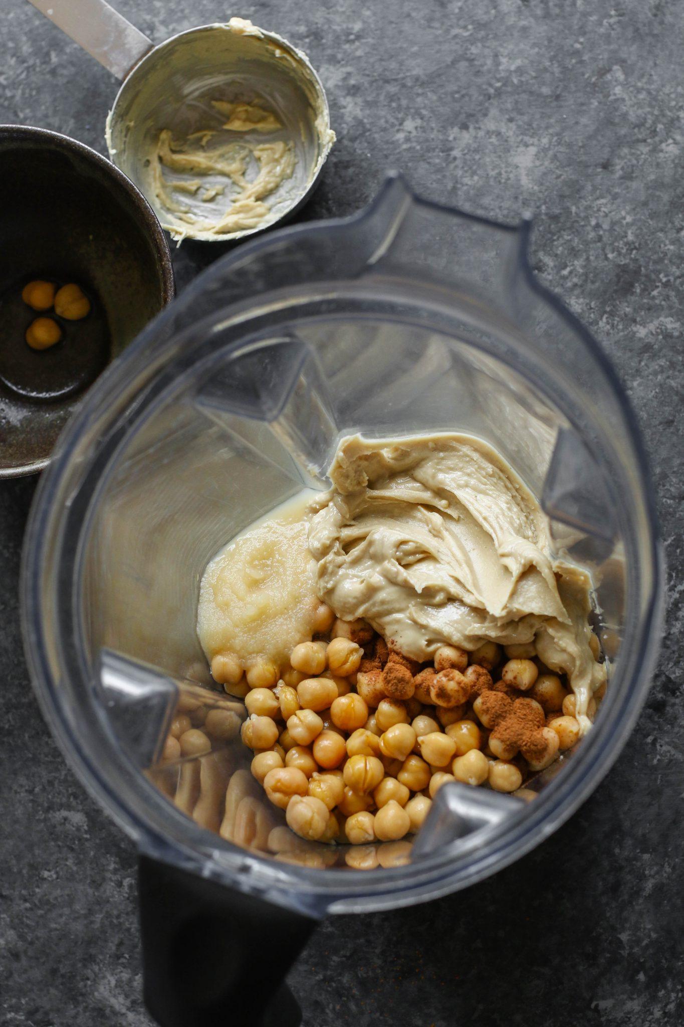 Cashew Butter Chickpea Snack Cookies Ingredients in blender