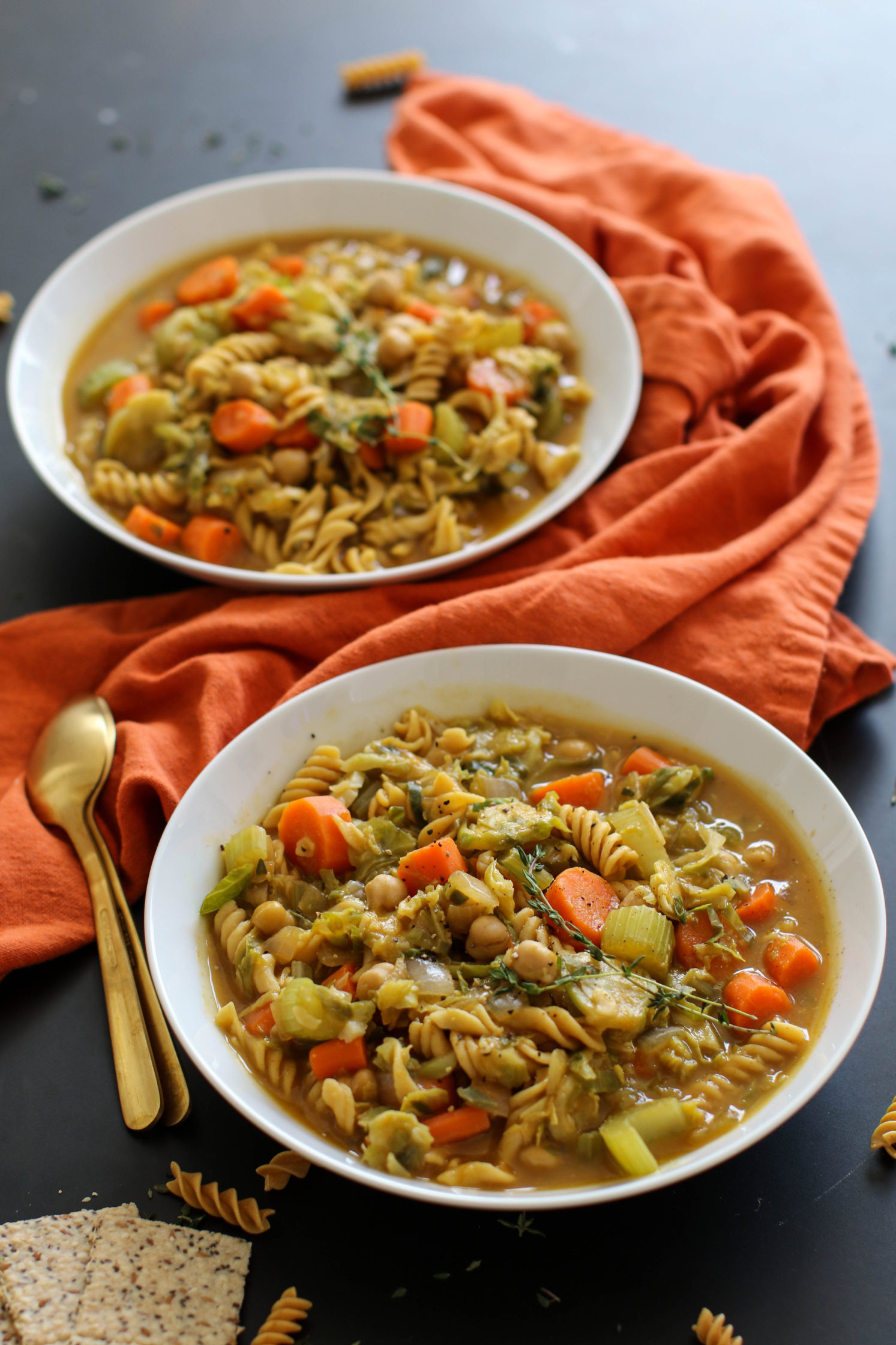 Chunky Chickpea Noodle Soup with Brussel Sprouts