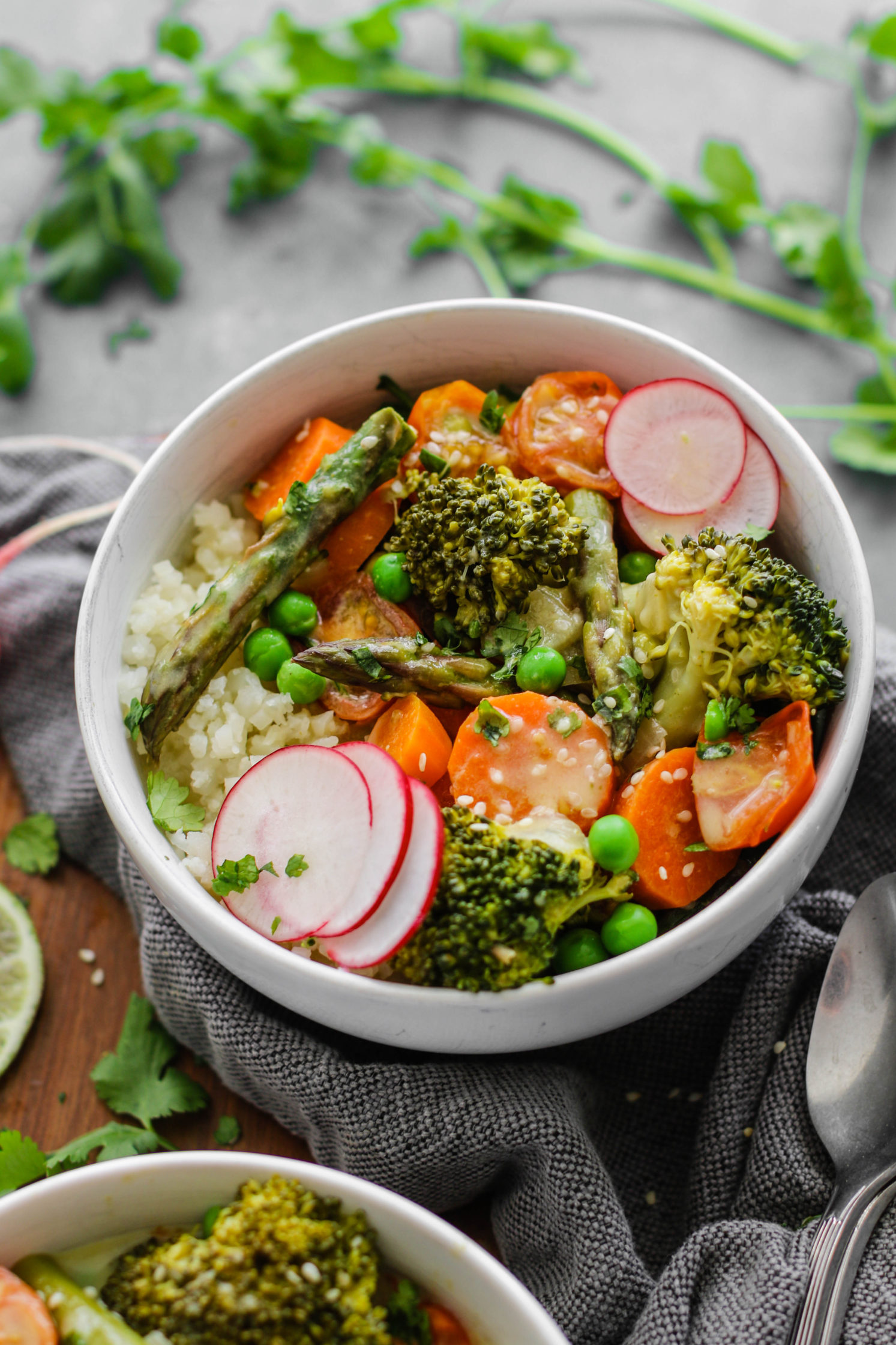 Green Coconut Curry with Cauliflower Rice by Flora & Vino