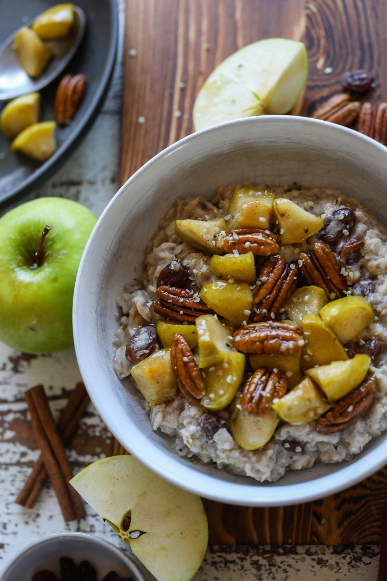 Apple Pecan Pie Oats with Sautéed Apples by Flora & Vino