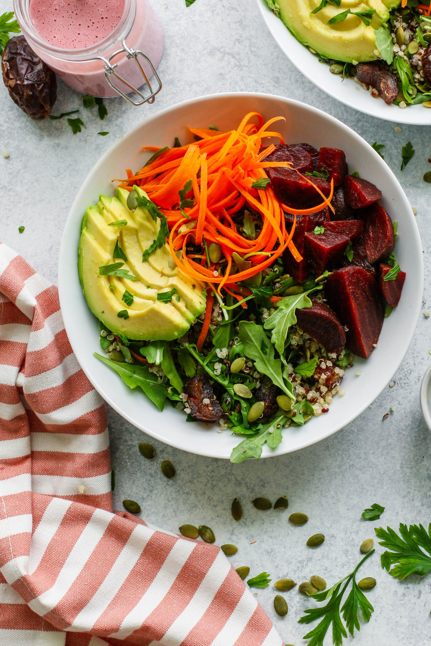 Summer Beet Macro Bowl with Sweet Beet Tahini by Flora & Vino