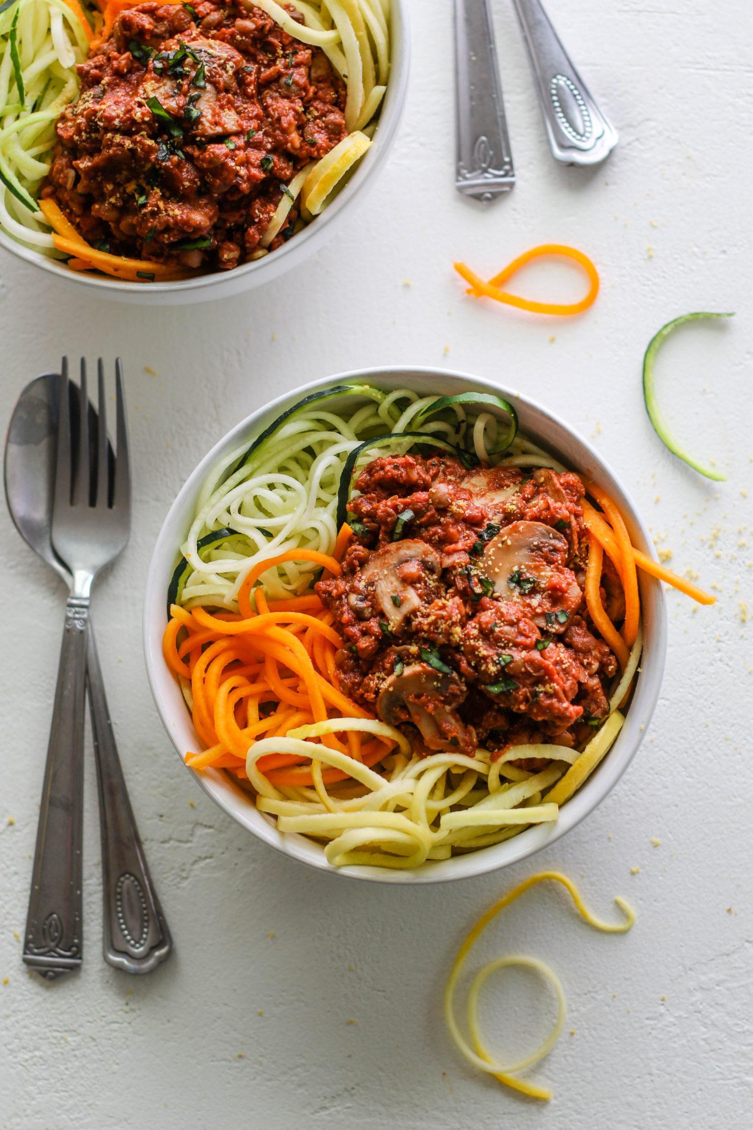 Veggie Noodles with Lentil Walnut Mushroom Bolognese by Flora & Vino
