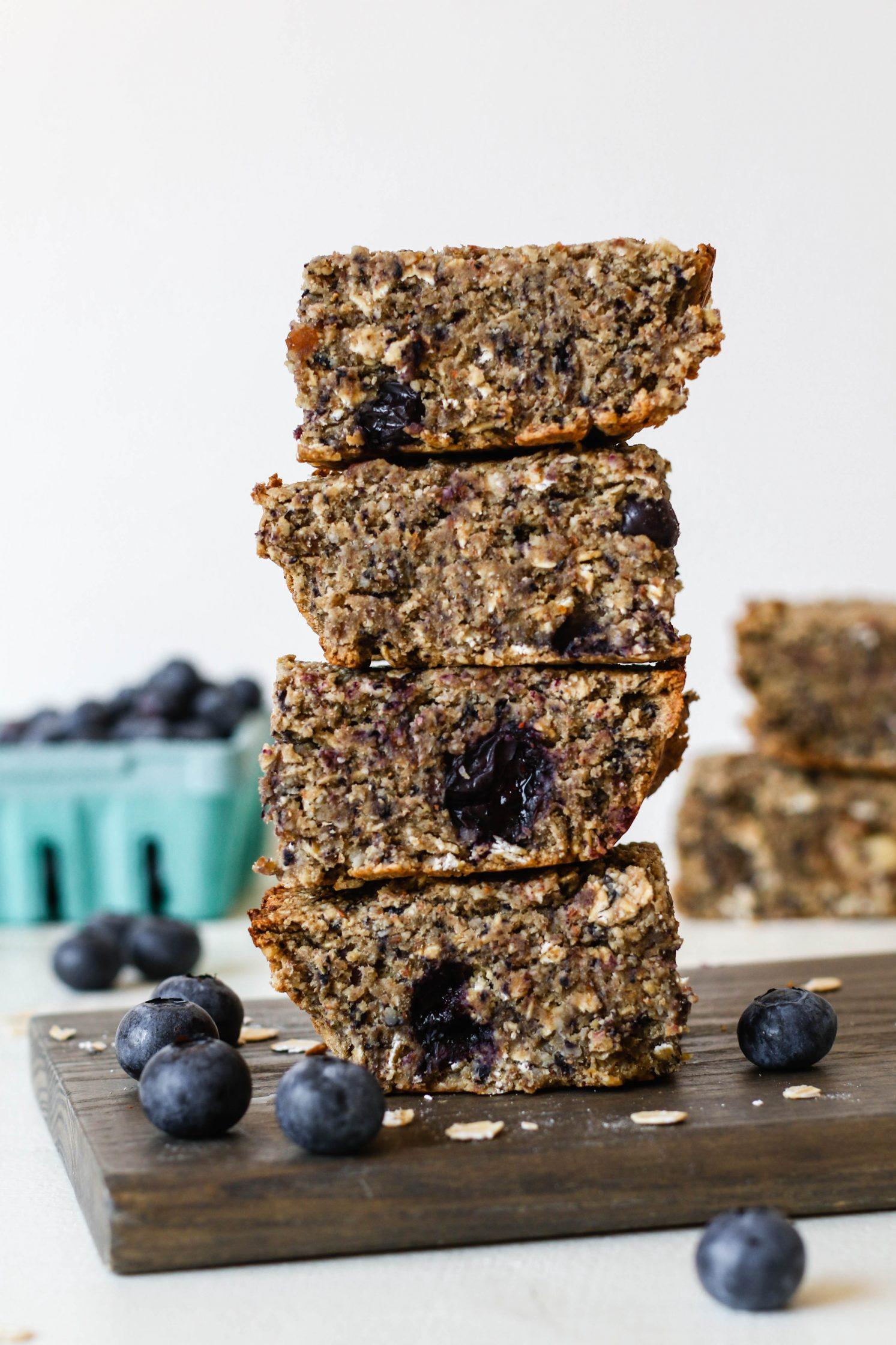 Blueberry Maple Baked Breakfast Bars by Flora & Vino