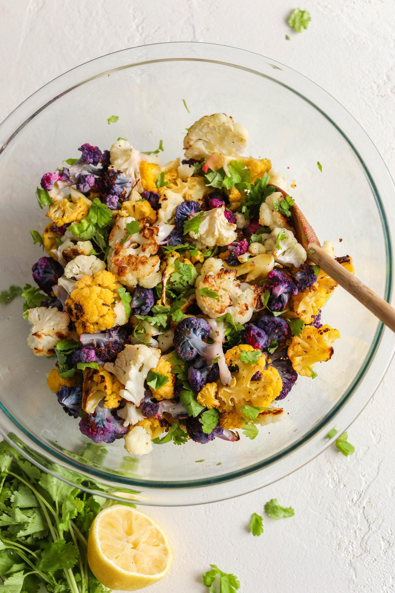 Tri-Colored Roasted Cauliflower Salad by Flora & Vino
