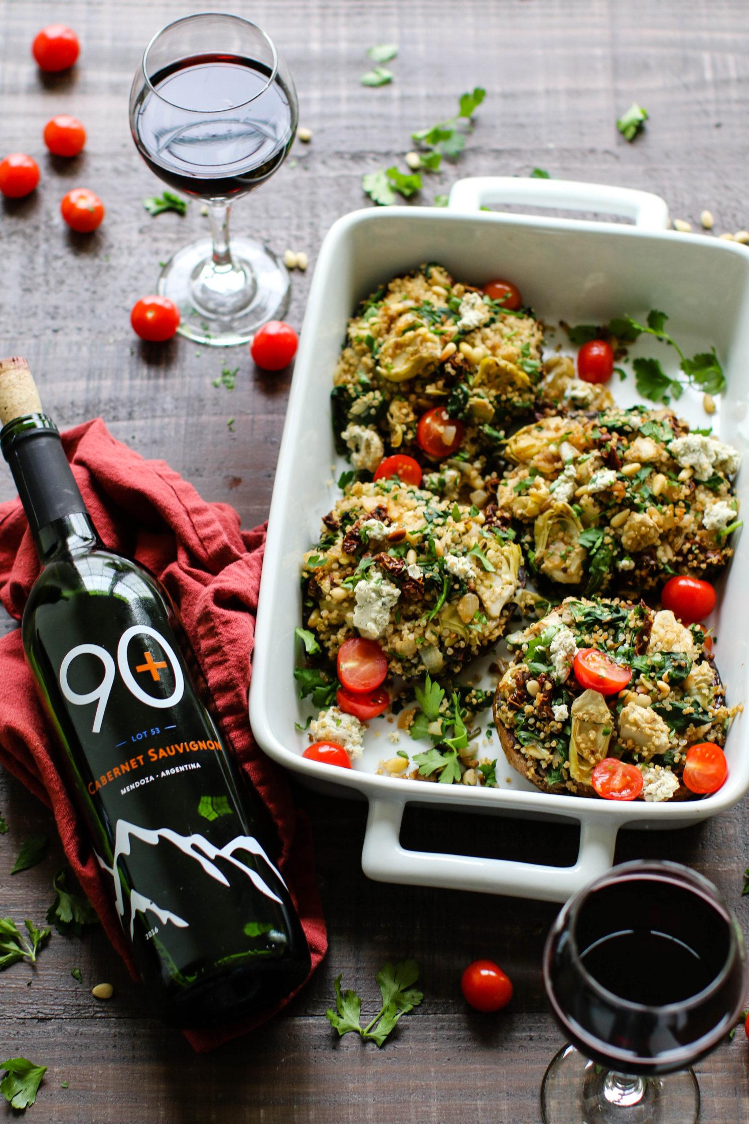 Spinach, Artichoke, & Quinoa Stuffed Portobello Mushrooms + Cabernet Sauvignon by Flora & Vino