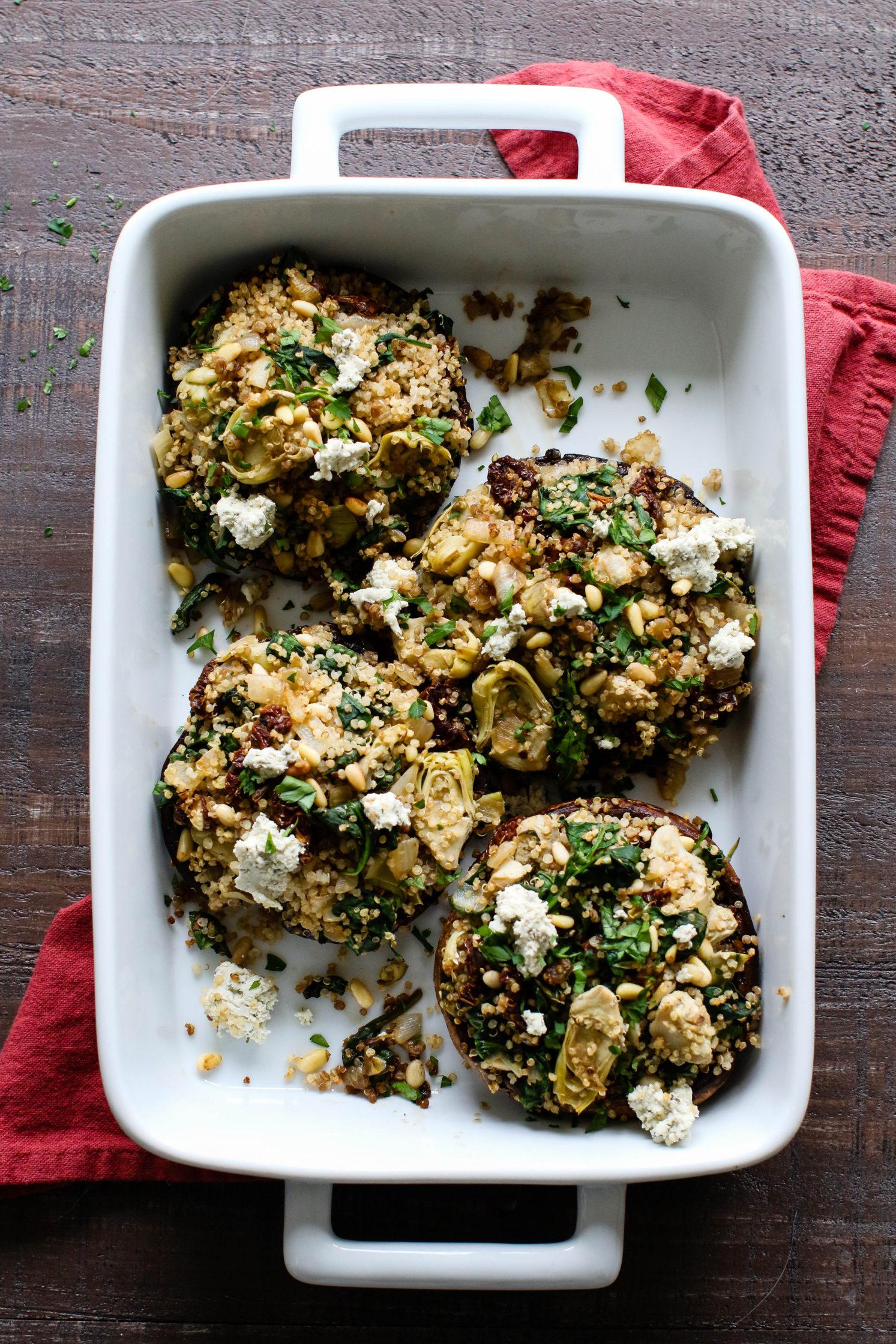 Spinach, Artichoke, & Quinoa Stuffed Portobello Mushrooms by Flora & Vino