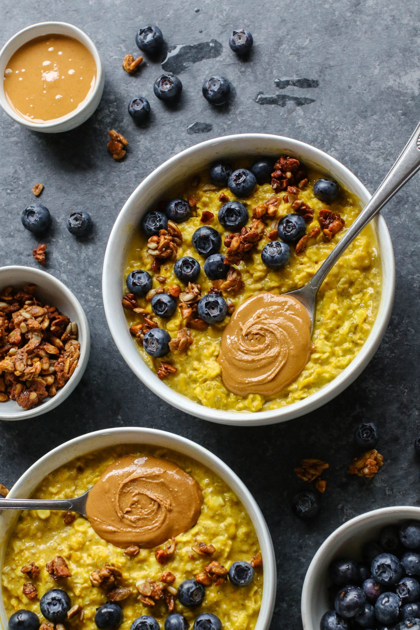 Golden Oats with Blueberries & Cashew Butter by Flora & Vino