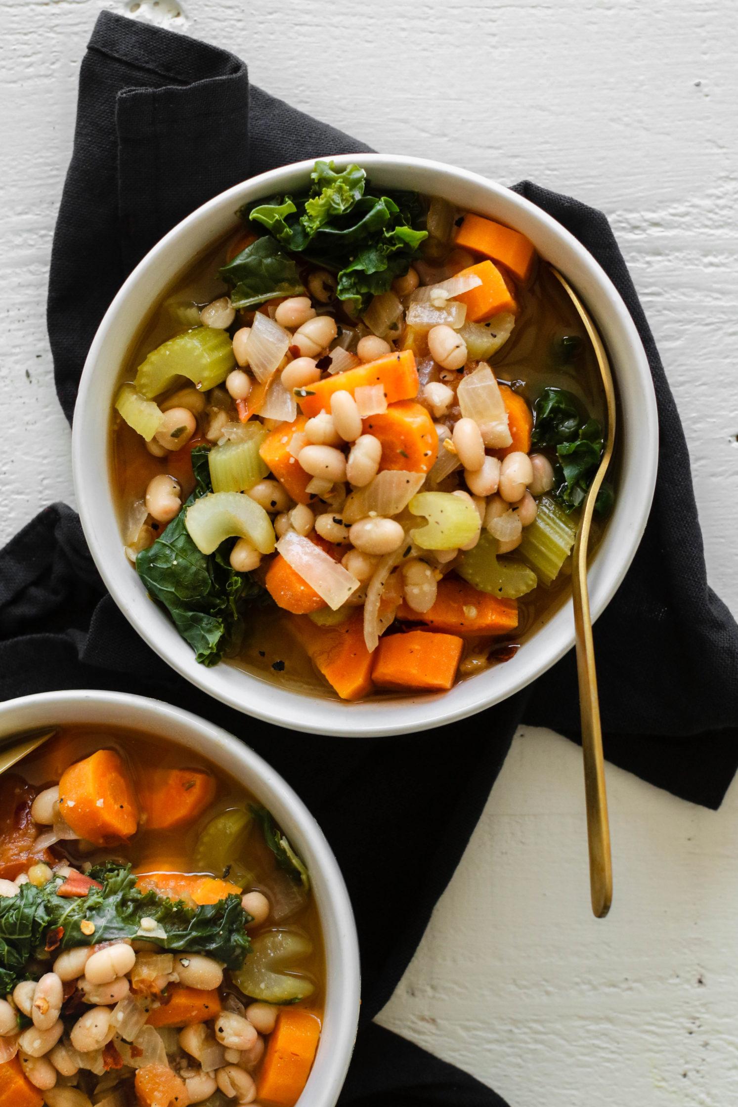 Easy White Bean & Kale Soup by Flora & Vino