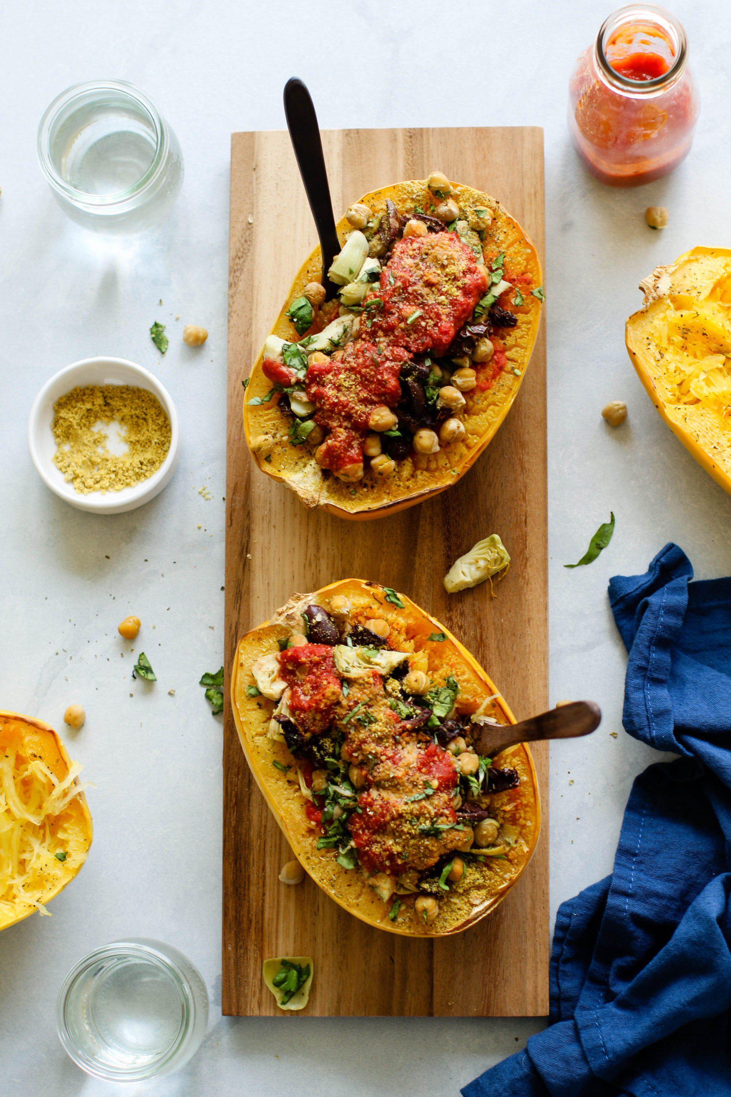 Meal Prep Double Baked Greek Spaghetti Squash by Flora & Vino