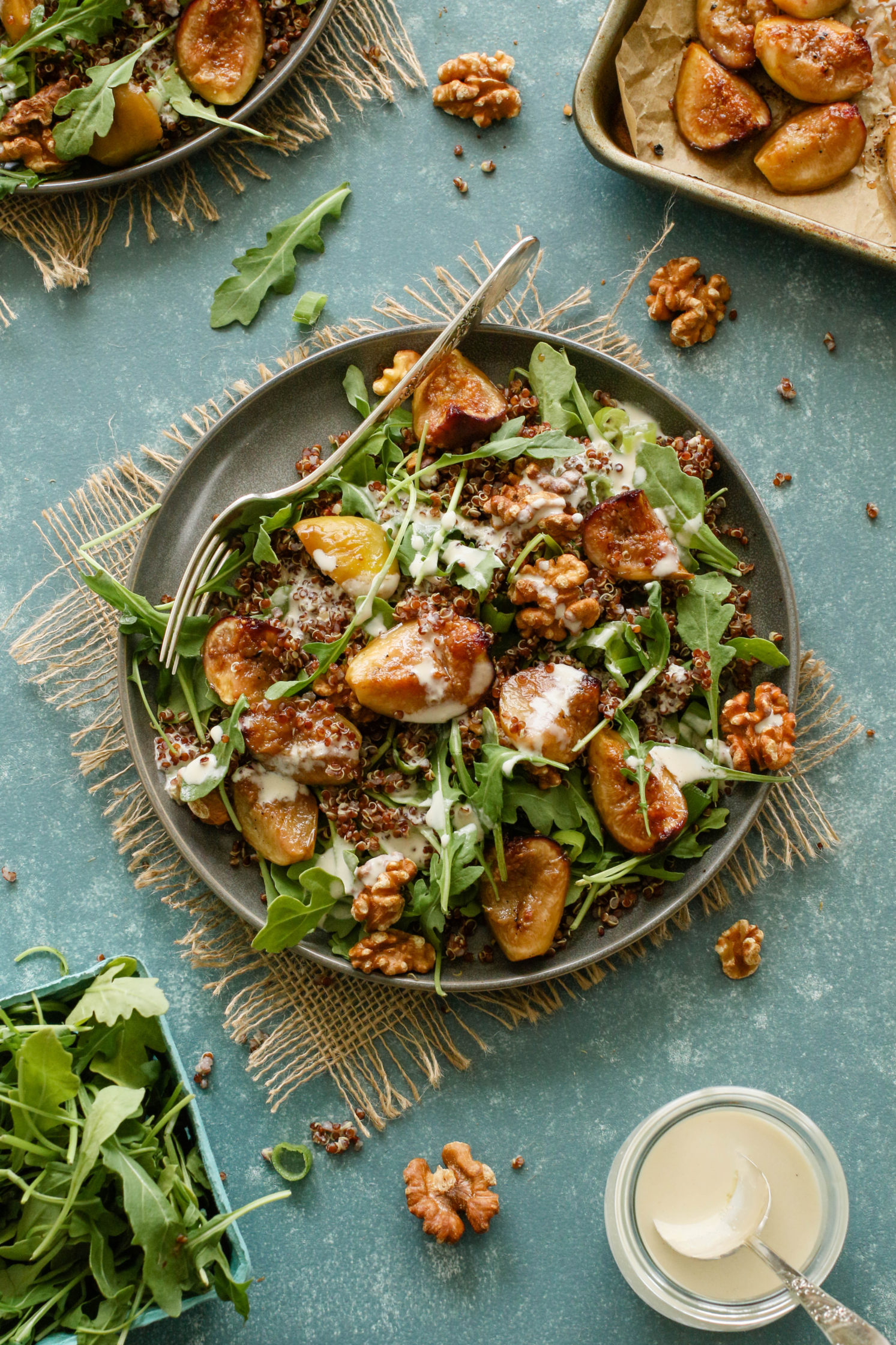Roasted Fig & Arugula Salad with Maple Tahini