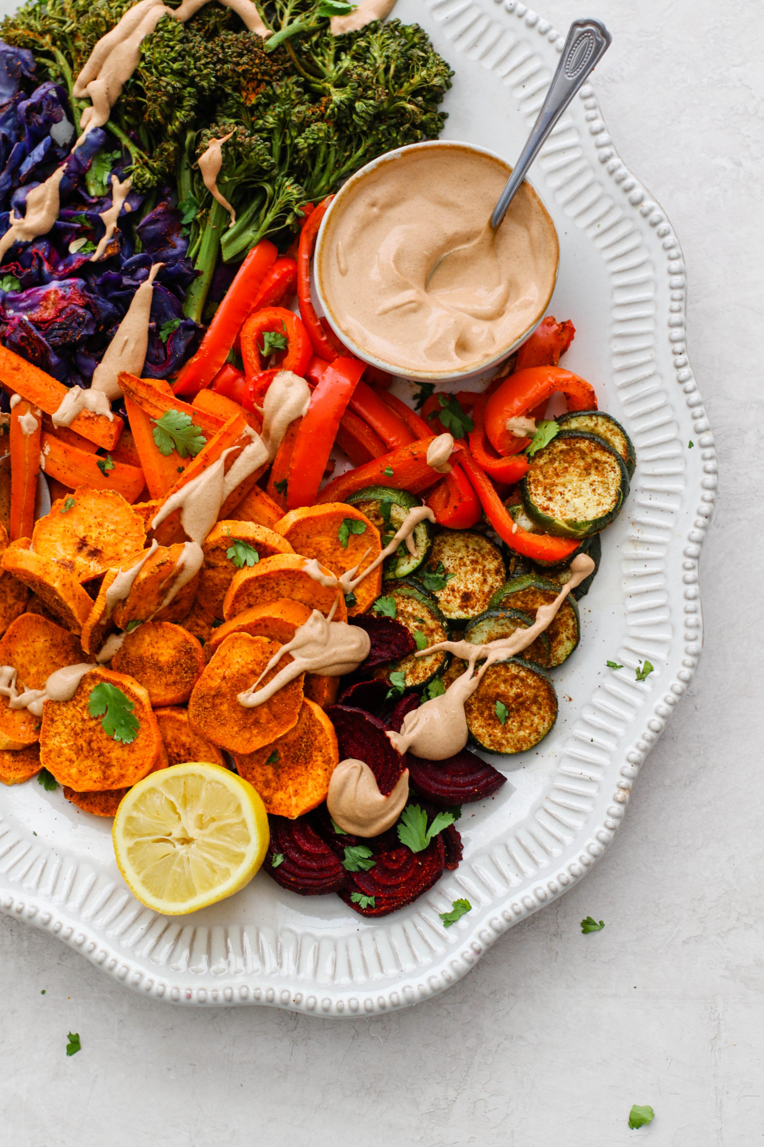 Oil-Free Roasted Veggies with Almond Butter Sauce