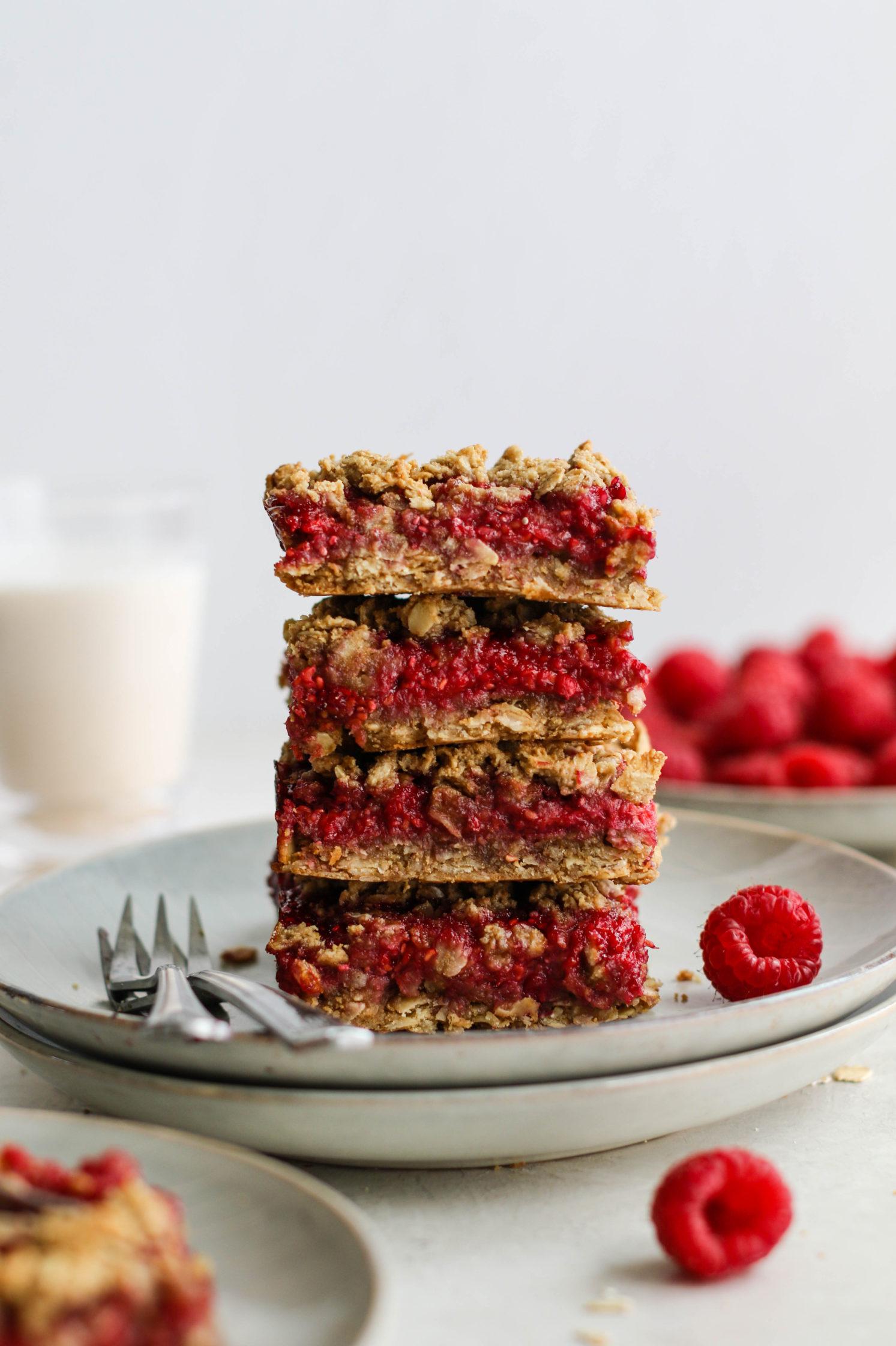 Raspberry Oat Crumble Bars by Flora & Vino