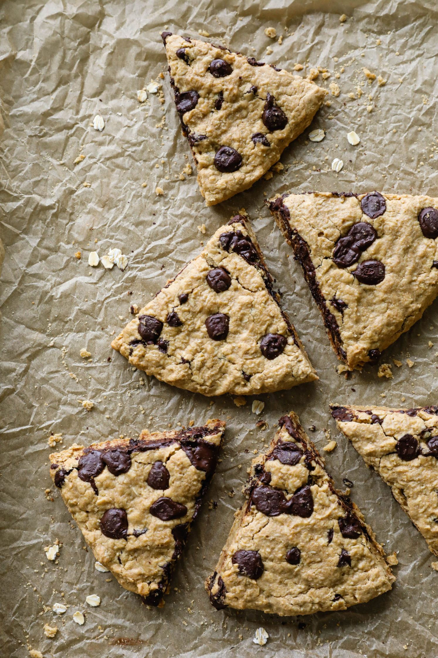 Oatmeal Tahini Chocolate Chip Scones by Flora & Vino