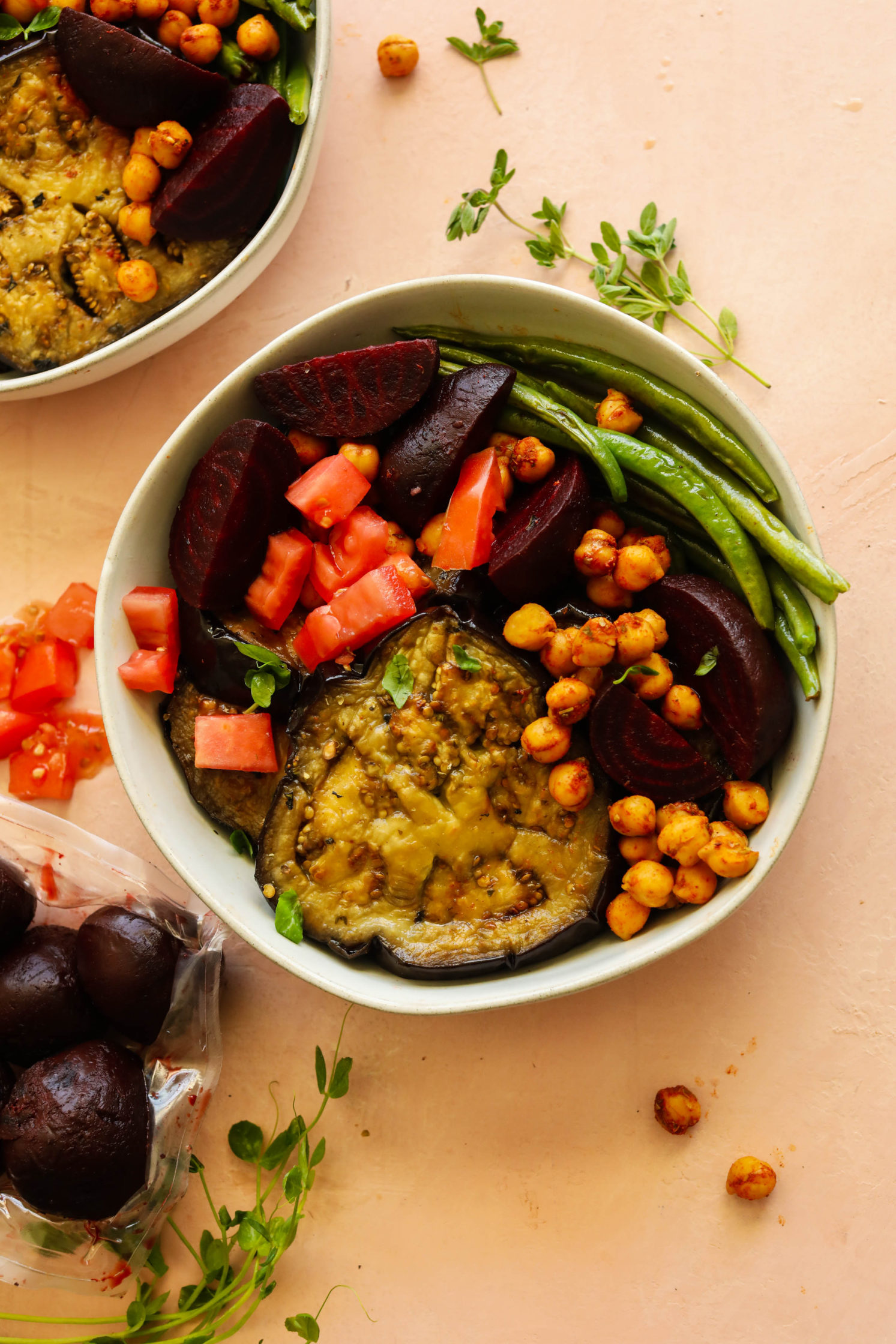 Baked Eggplant Steaks with Spiced Chickpeas, Beets, & Green Beans