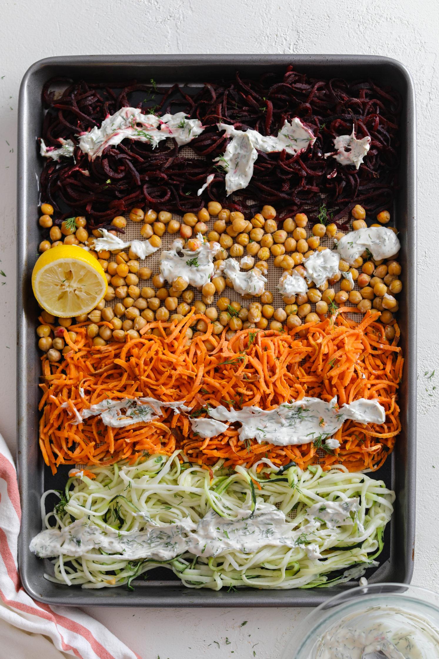 Rainbow Veggie Noodle Bake with Yogurt Dill Tahini by Flora & Vino