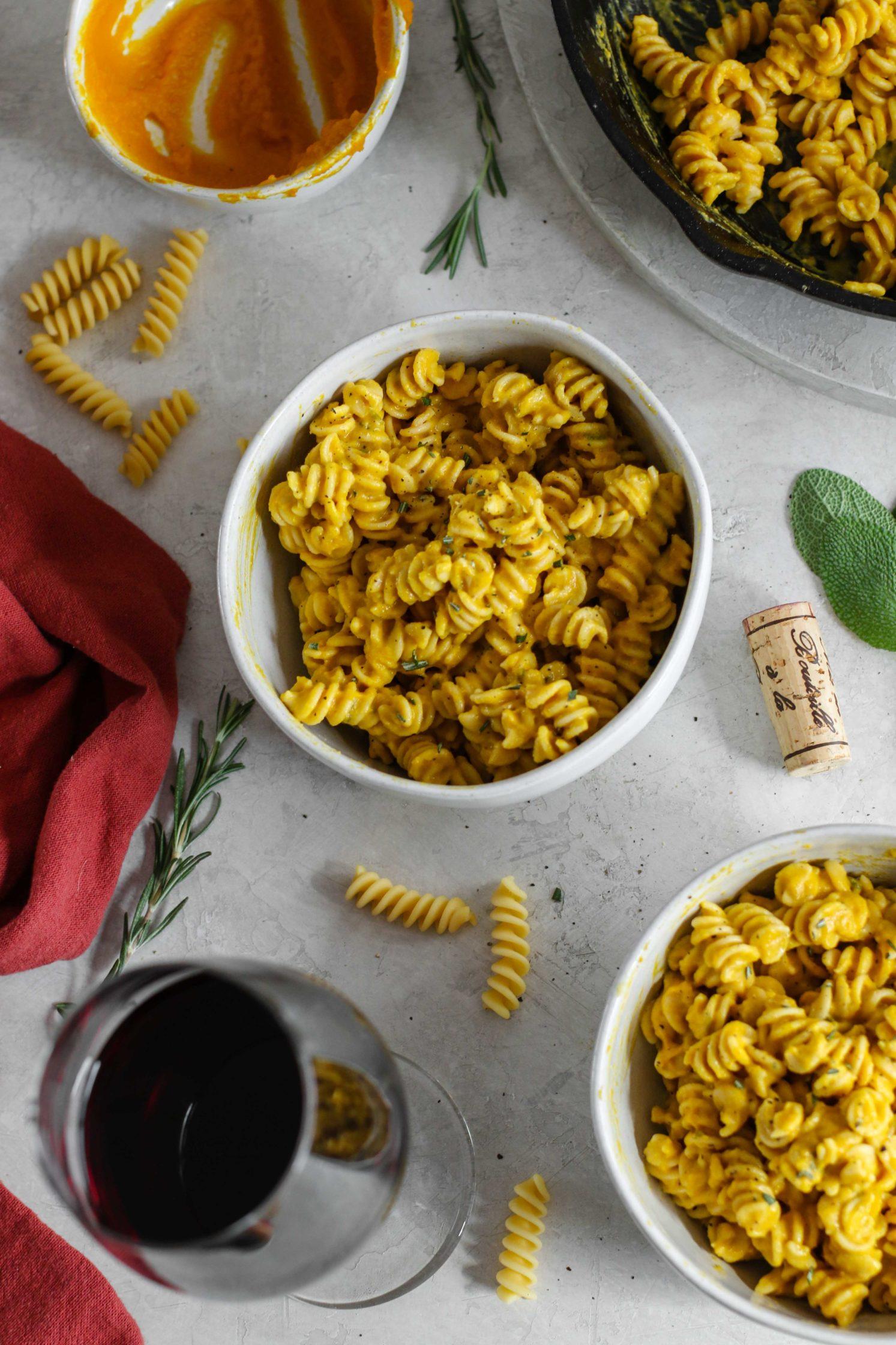 Creamy Vegan Pumpkin Pasta + Juliénas by Flora & Vino