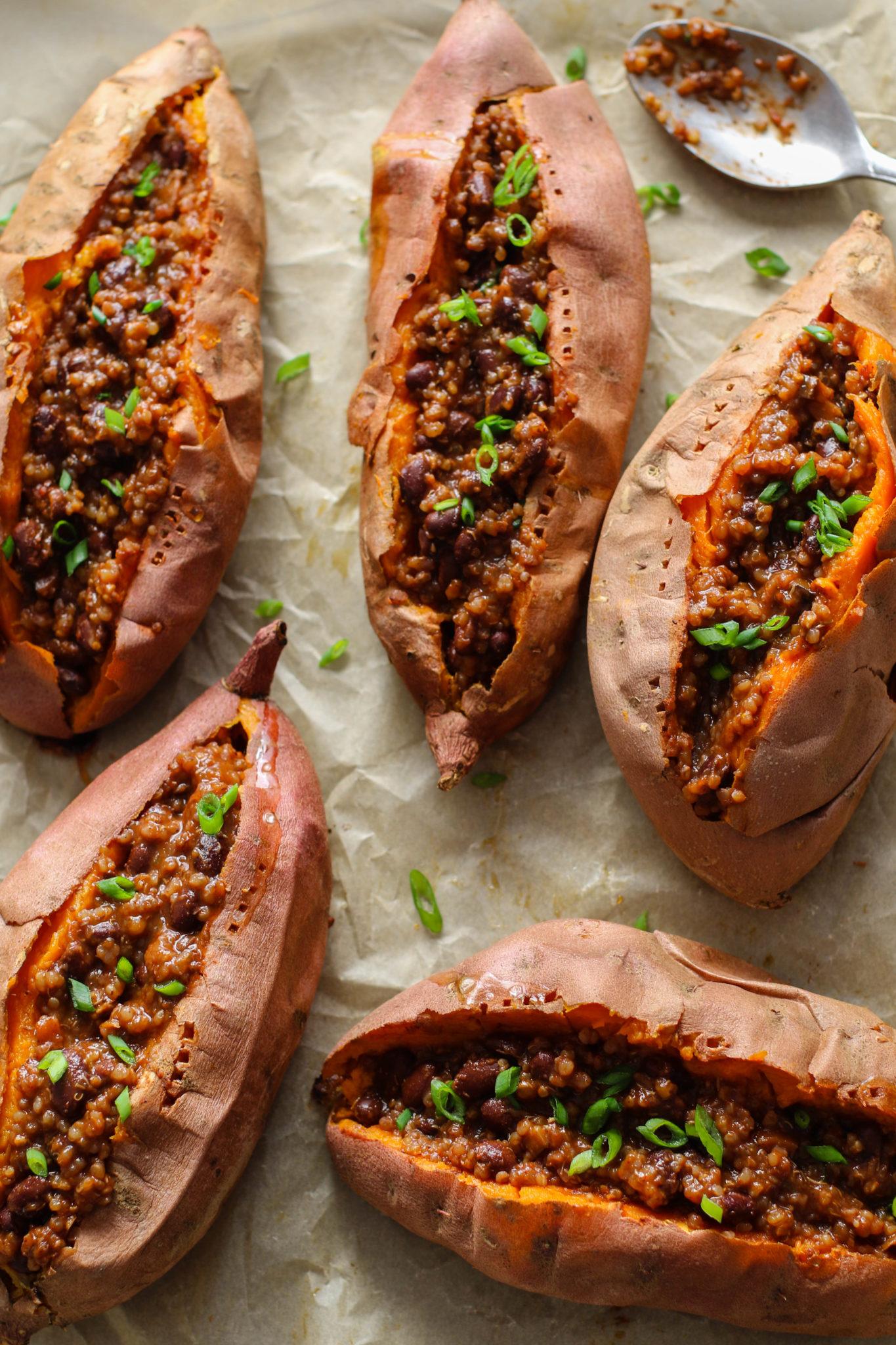 Chili Stuffed Sweet Potatoes by Flora & Vino