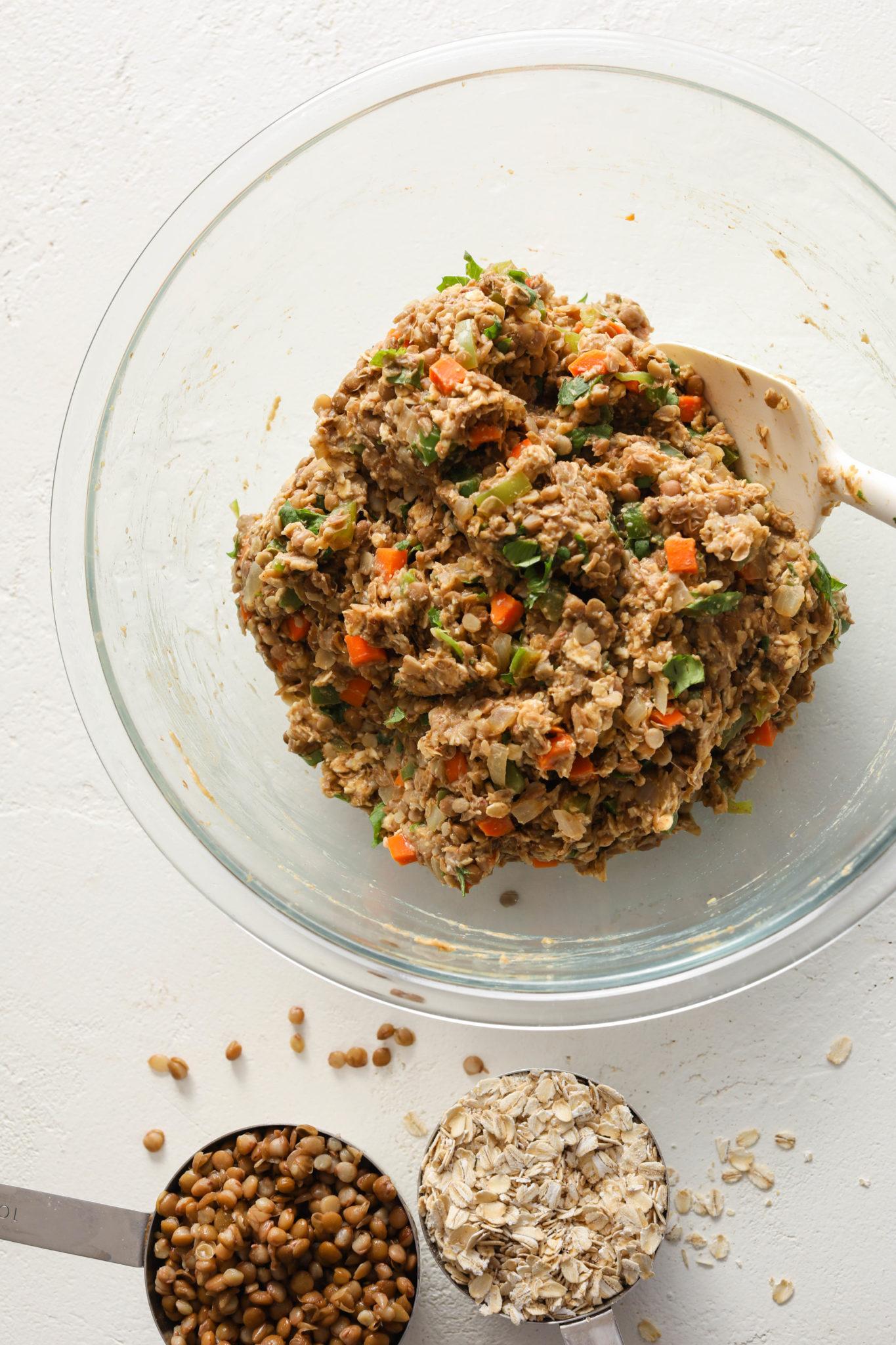 Lentil Oat Loaf (Vegan & Gluten-Free!) mixed in bowl
