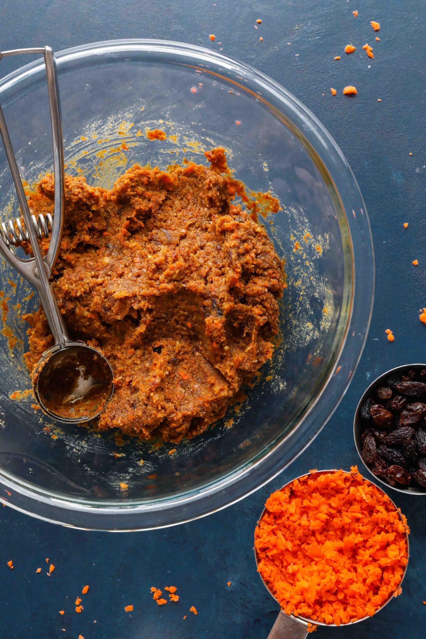 Carrot Cake Bliss Balls (Grain-Free!) in mixing bowl