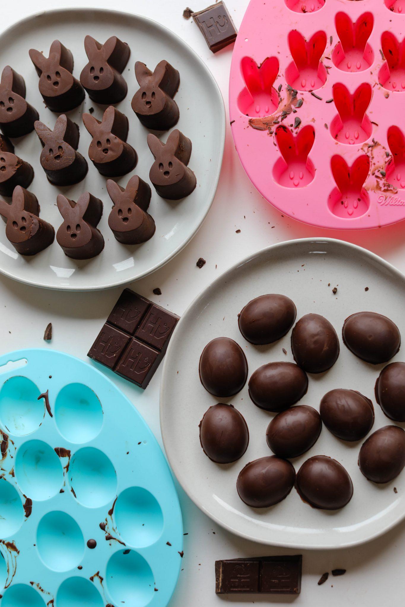 Homemade Vegan Chocolate Bunnies & Eggs by Flora & Vino