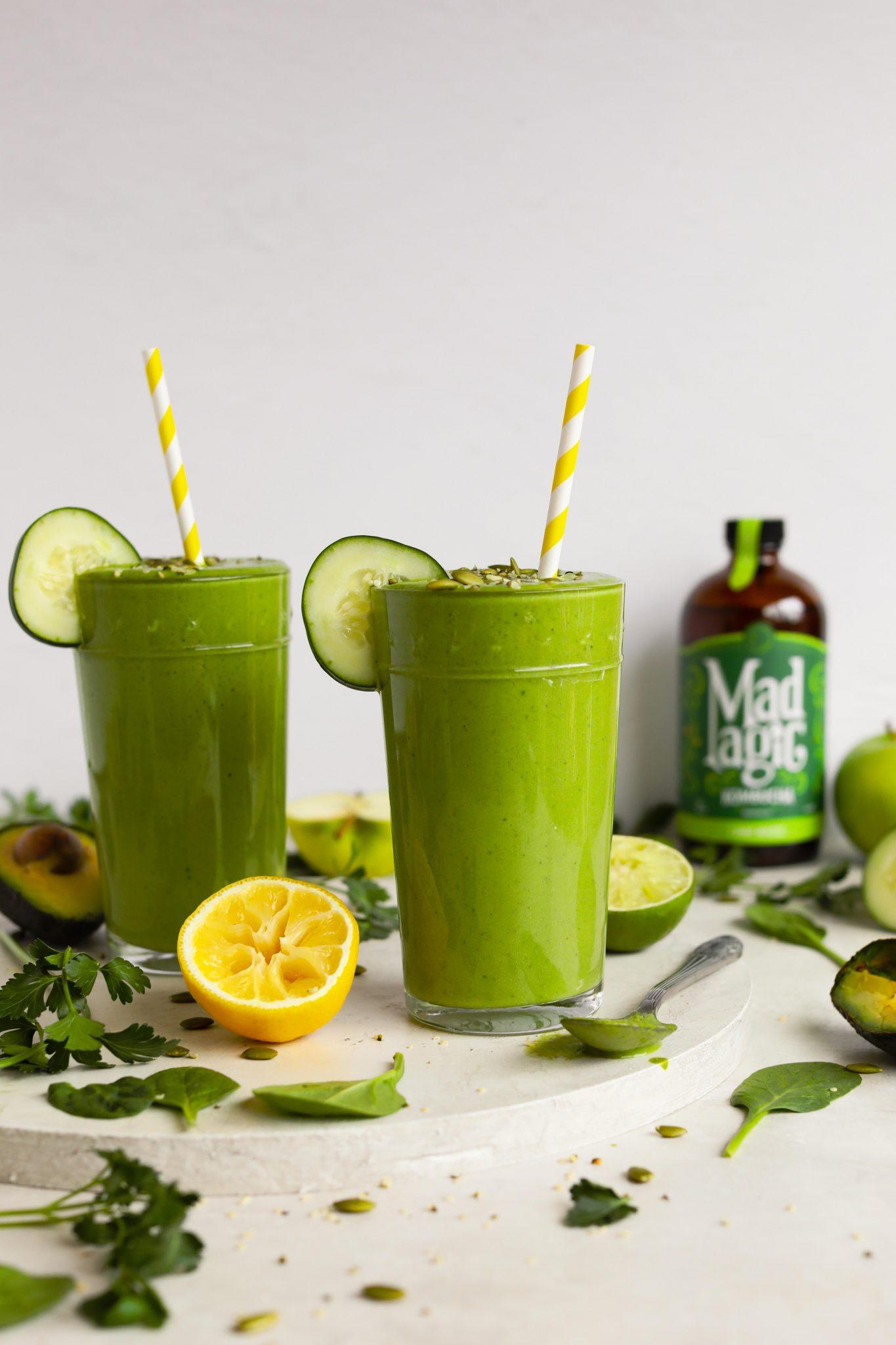 Savory Green Kombucha Smoothie by Flora & Vino with Mad Magic Kombucha