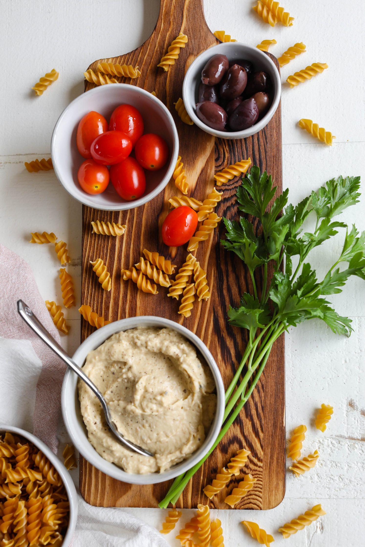 1-Bowl Hummus Pasta Salad Ingredients