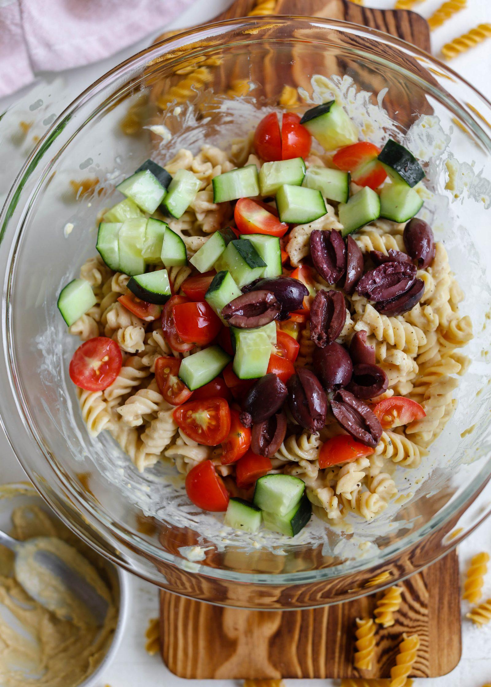 1-Bowl Hummus Pasta Salad process shot