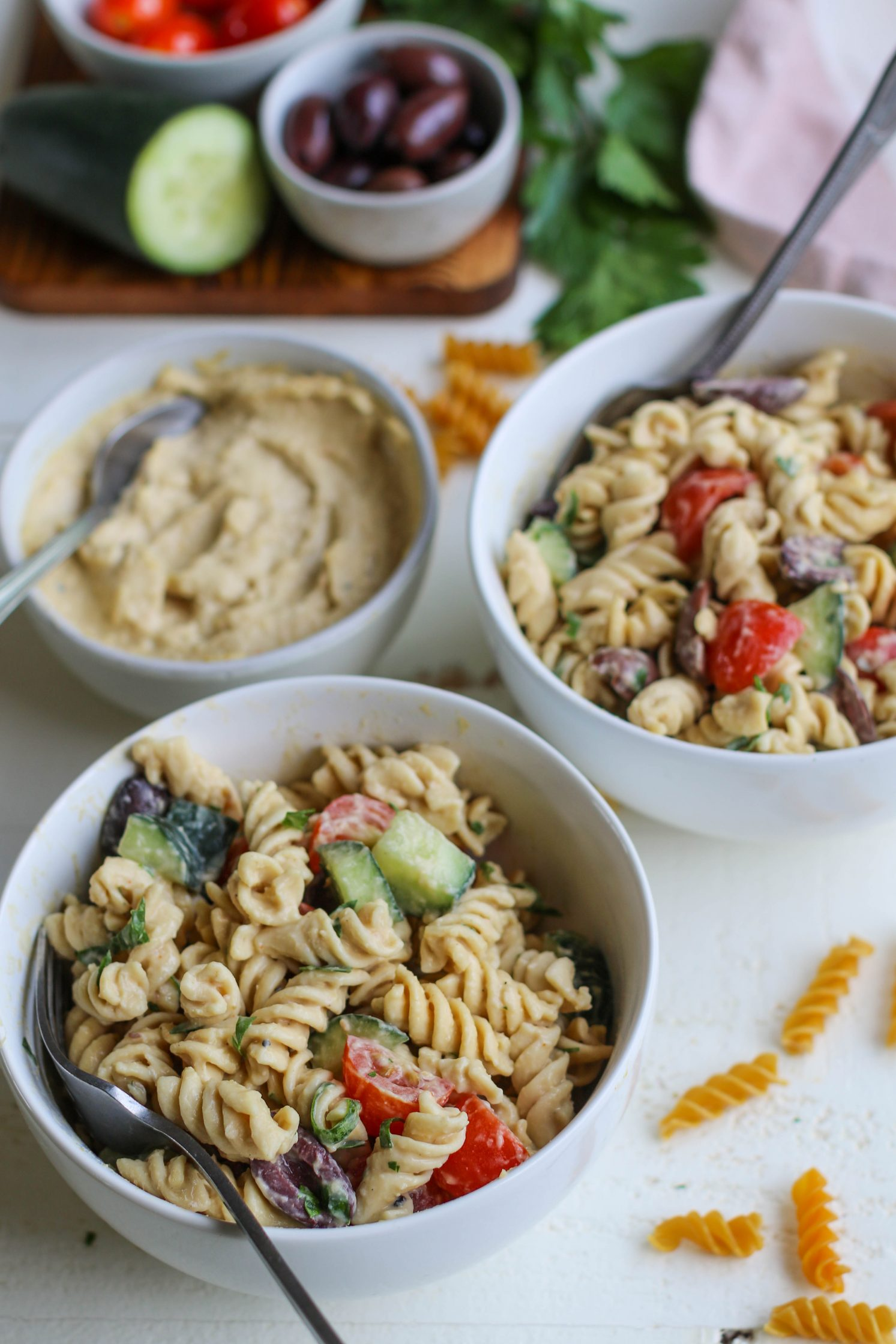 1-Bowl Hummus Pasta Salad by Flora & Vino