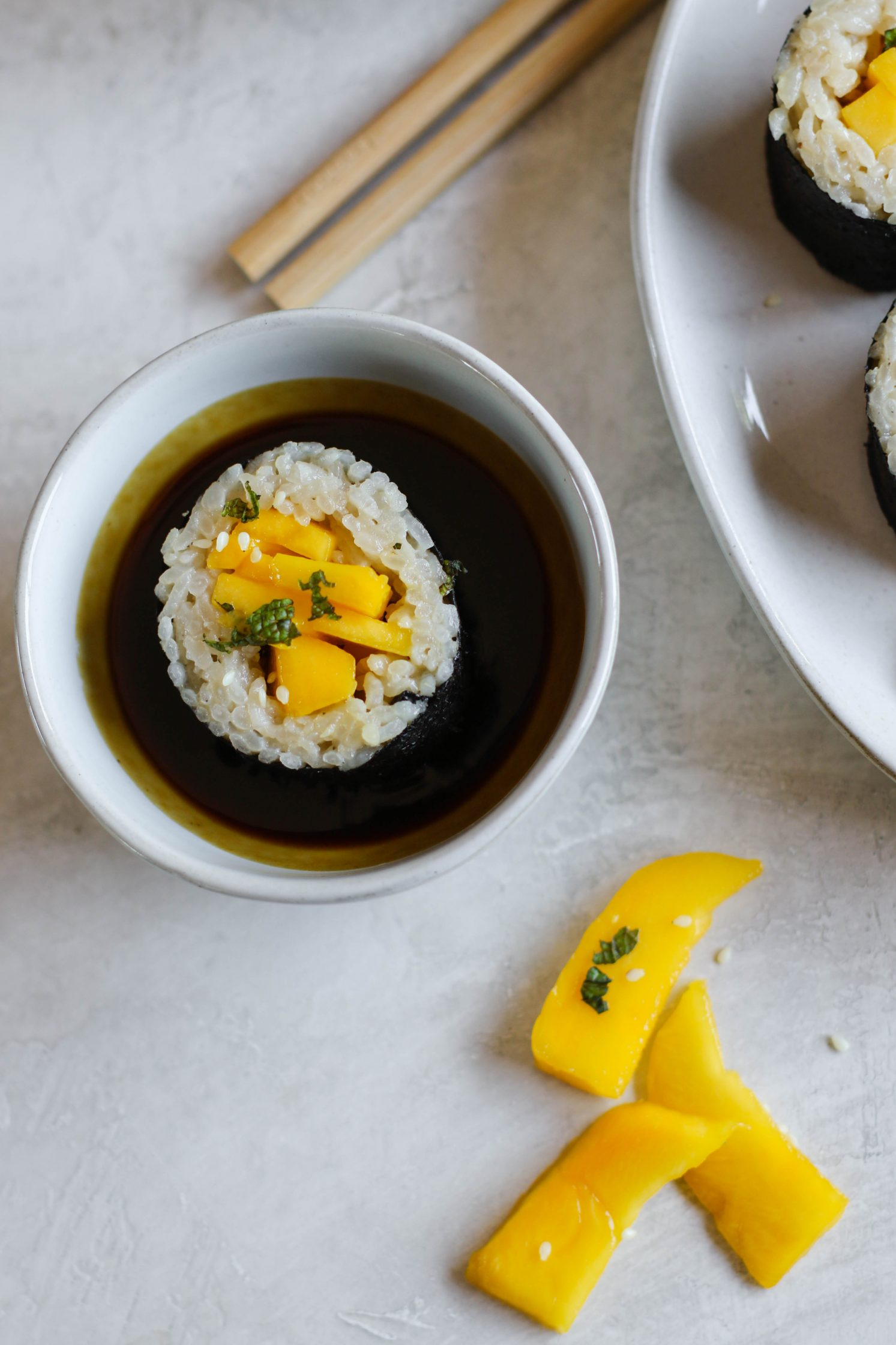 Mango Sticky Rice Dessert Sushi-30 - Flora & Vino